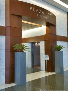 planters in front of elevators