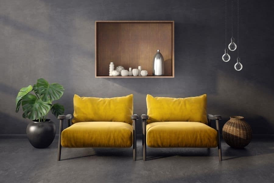 Modern living with yellow armchairs