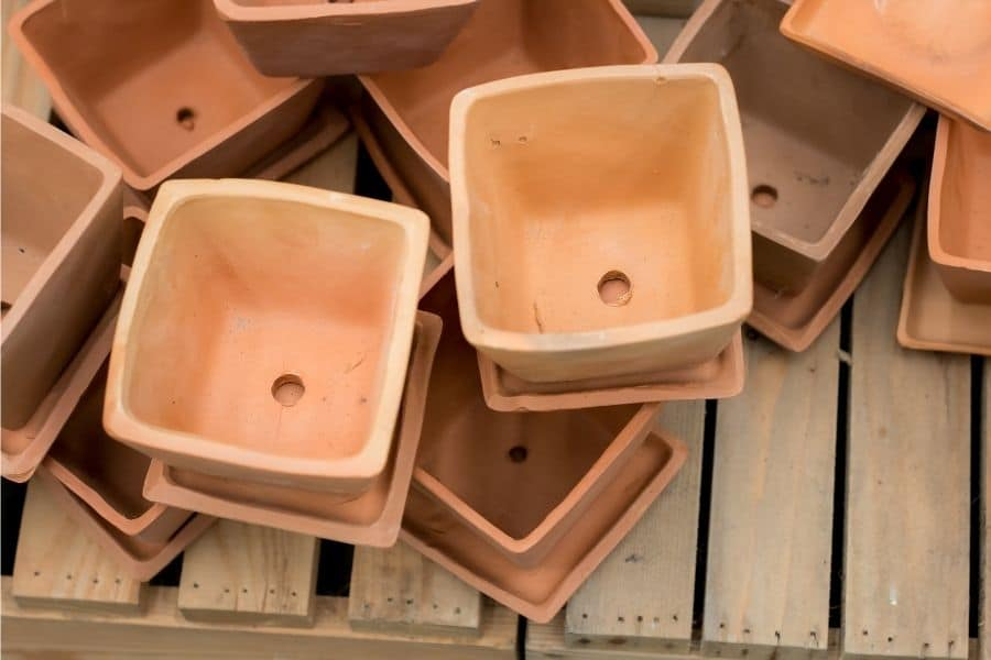 Drainage hole in clay pot