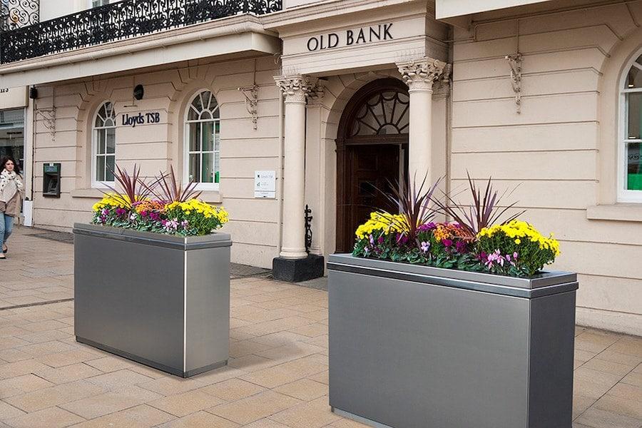 Flower planters in bank frontstore