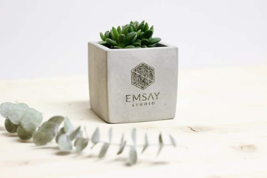 Personalized planters with company logo