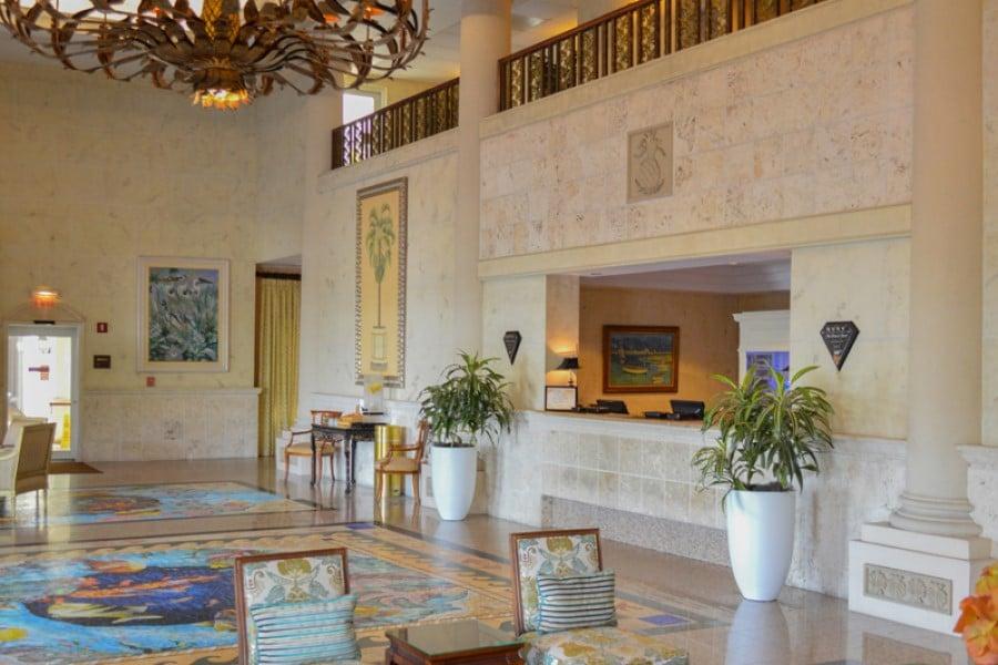 Big planters in a hotel lobby