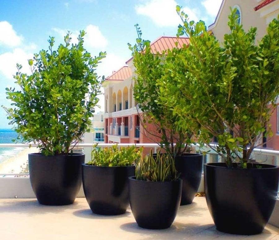fiberglass round tapered planters
