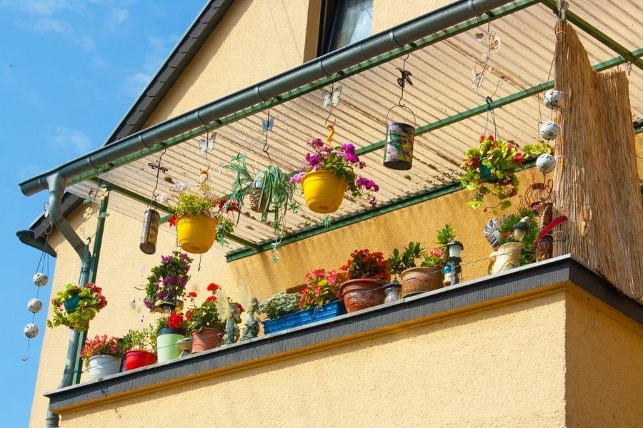 Balcony garden with hanging flower pots